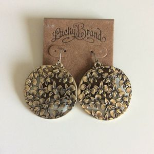 NWT Lucky Brand Earrings Dangle Floral Medallion